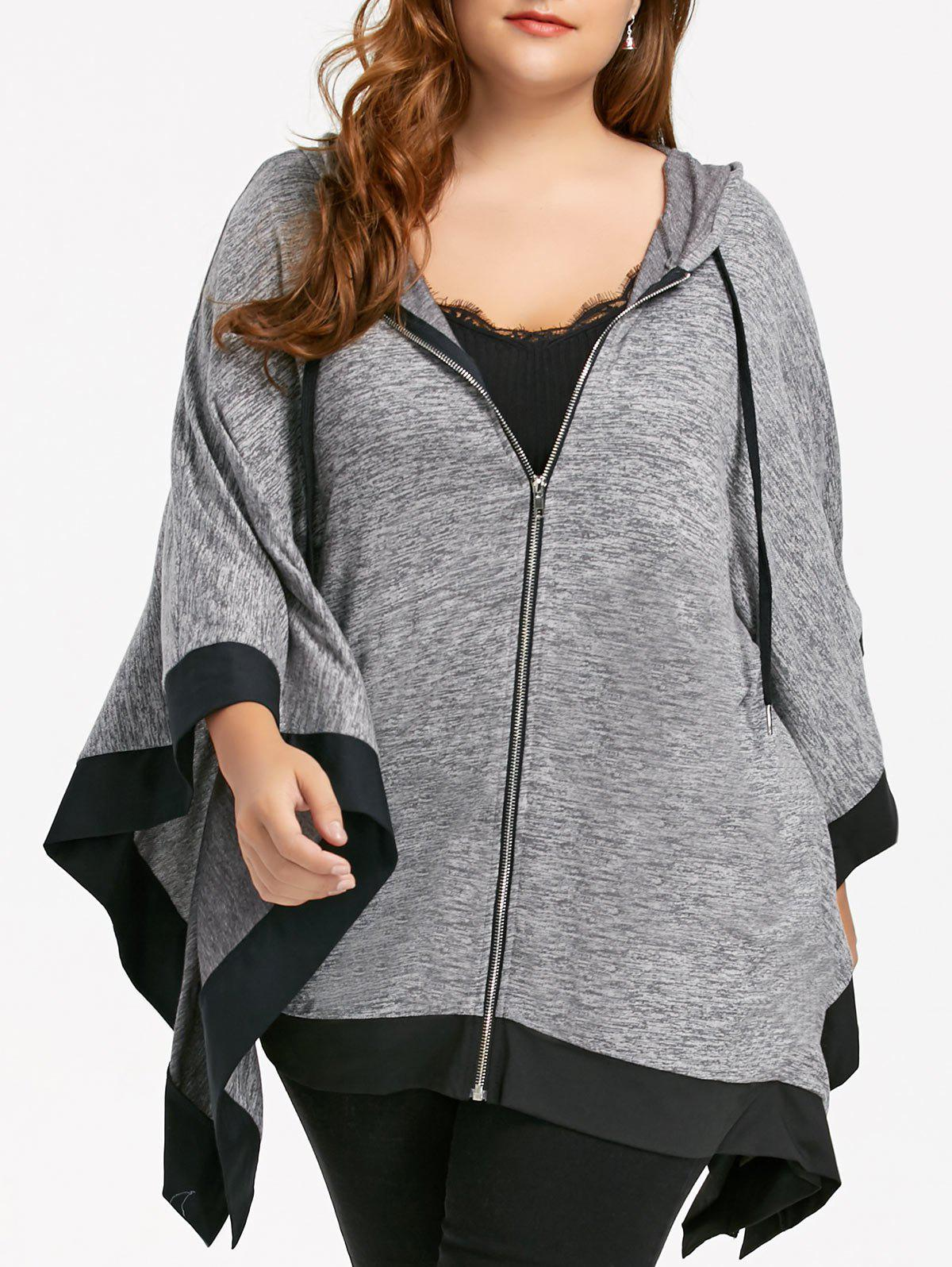 Dolman Sleeve Hooded Plus Size Zip Up Cape CoatWOMEN<br><br>Size: 4XL; Color: BLACK; Clothes Type: Others; Material: Cotton Blends,Polyester; Type: Wide-waisted; Shirt Length: Long; Sleeve Length: Three Quarter; Collar: Hooded; Pattern Type: Others; Style: Fashion; Season: Fall,Winter; Weight: 0.5910kg; Package Contents: 1 x Coat;