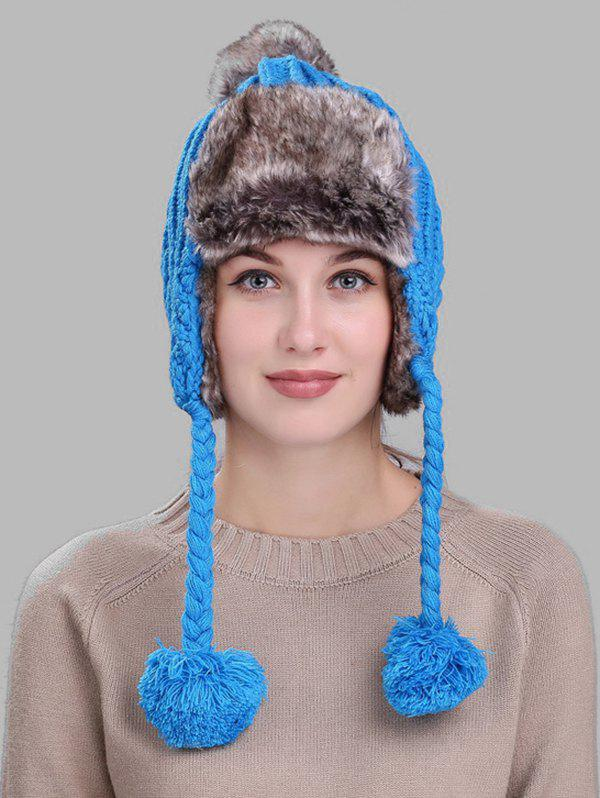 Unique Pom Pom Embellished Cable Knit Trapper Hat