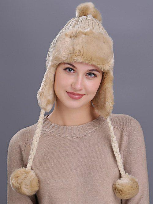 Vintage Checked Pattern Thicken Knit Trapper HatACCESSORIES<br><br>Color: BEIGE; Hat Type: Trapper Hat; Group: Adult; Gender: For Women; Style: Fashion; Pattern Type: Others; Material: Acrylic; Circumference (CM): 56-60CM; Weight: 0.2500kg; Package Contents: 1 x Hat;