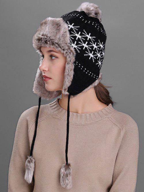 Hot Flag Pattern Thicken Knit Trapper Hat