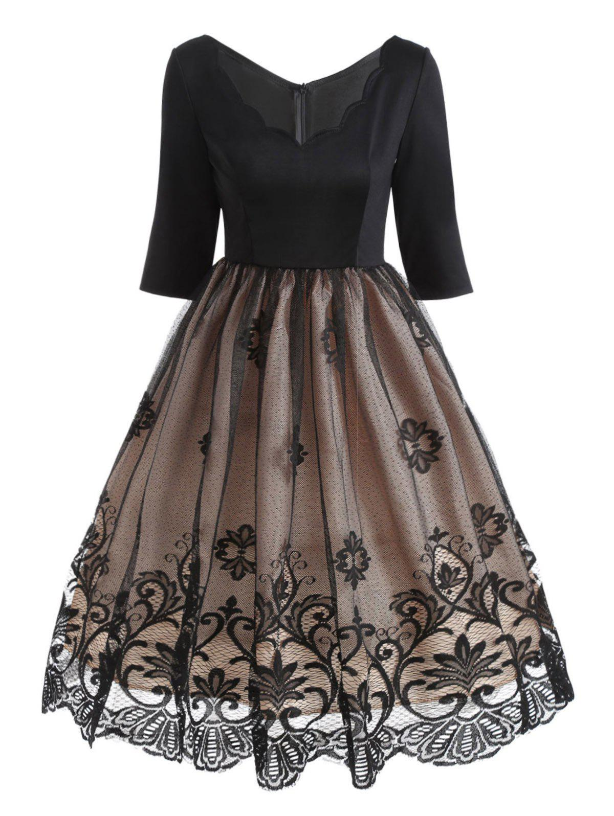 V Neck Floral Lace Panel Vintage DressWOMEN<br><br>Size: L; Color: BLACK; Style: Vintage; Material: Cotton,Polyester; Silhouette: A-Line; Dresses Length: Knee-Length; Neckline: V-Neck; Sleeve Length: Half Sleeves; Embellishment: Lace; Pattern Type: Solid; With Belt: No; Season: Fall; Weight: 0.3800kg; Package Contents: 1 x Dress;