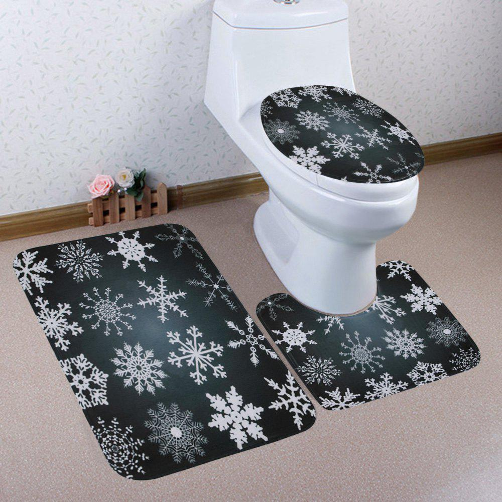 New Christmas Snowflake Pattern 3 Pcs Bath Mat Toilet Mat