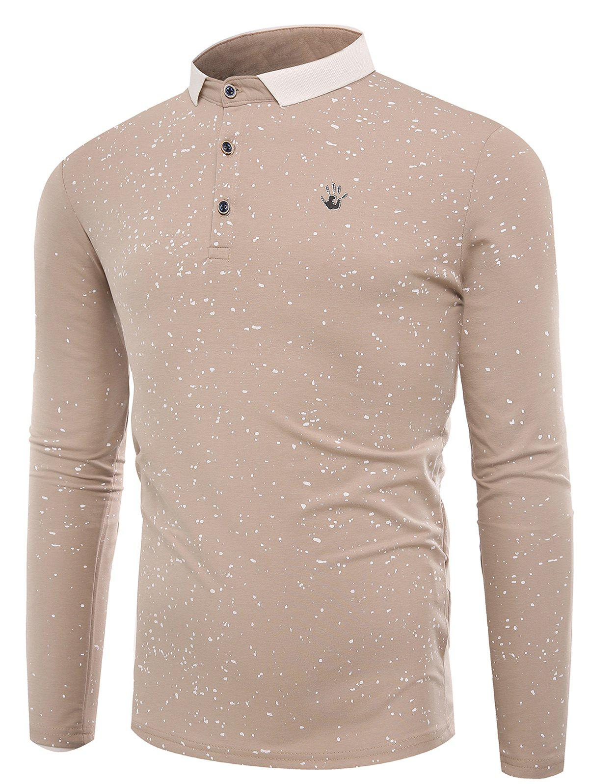 Splatter Paint Print Long Sleeve Polo T-shirtMEN<br><br>Size: L; Color: APRICOT; Material: Cotton,Polyester; Sleeve Length: Full; Collar: Polo Collar; Style: Casual,Fashion,Streetwear; Embellishment: Button; Pattern Type: Print; Season: Fall,Winter; Weight: 0.3600kg; Package Contents: 1 x T-shirt;