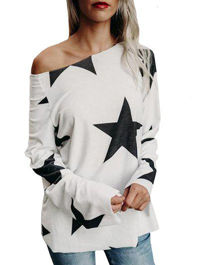 Star Print Skew Neck T-shirtWOMEN<br><br>Size: M; Color: WHITE; Material: Cotton,Polyester; Shirt Length: Regular; Sleeve Length: Full; Collar: Skew Collar; Style: Casual; Pattern Type: Star; Season: Fall,Spring; Weight: 0.2600kg; Package Contents: 1 x T-shirt;