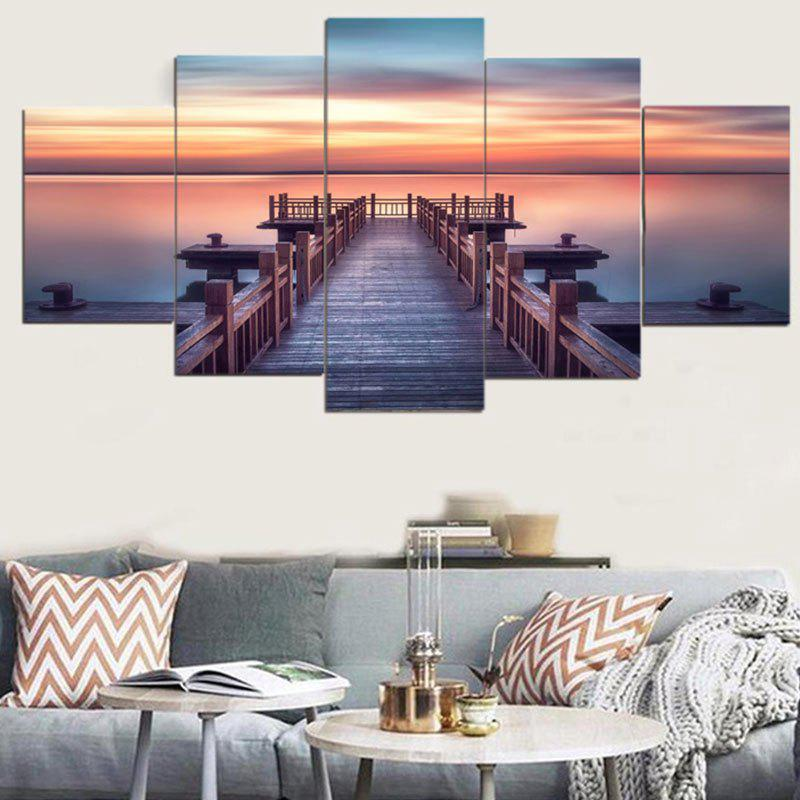 Trendy Sunset Wood Bridge Wall Art Paintings