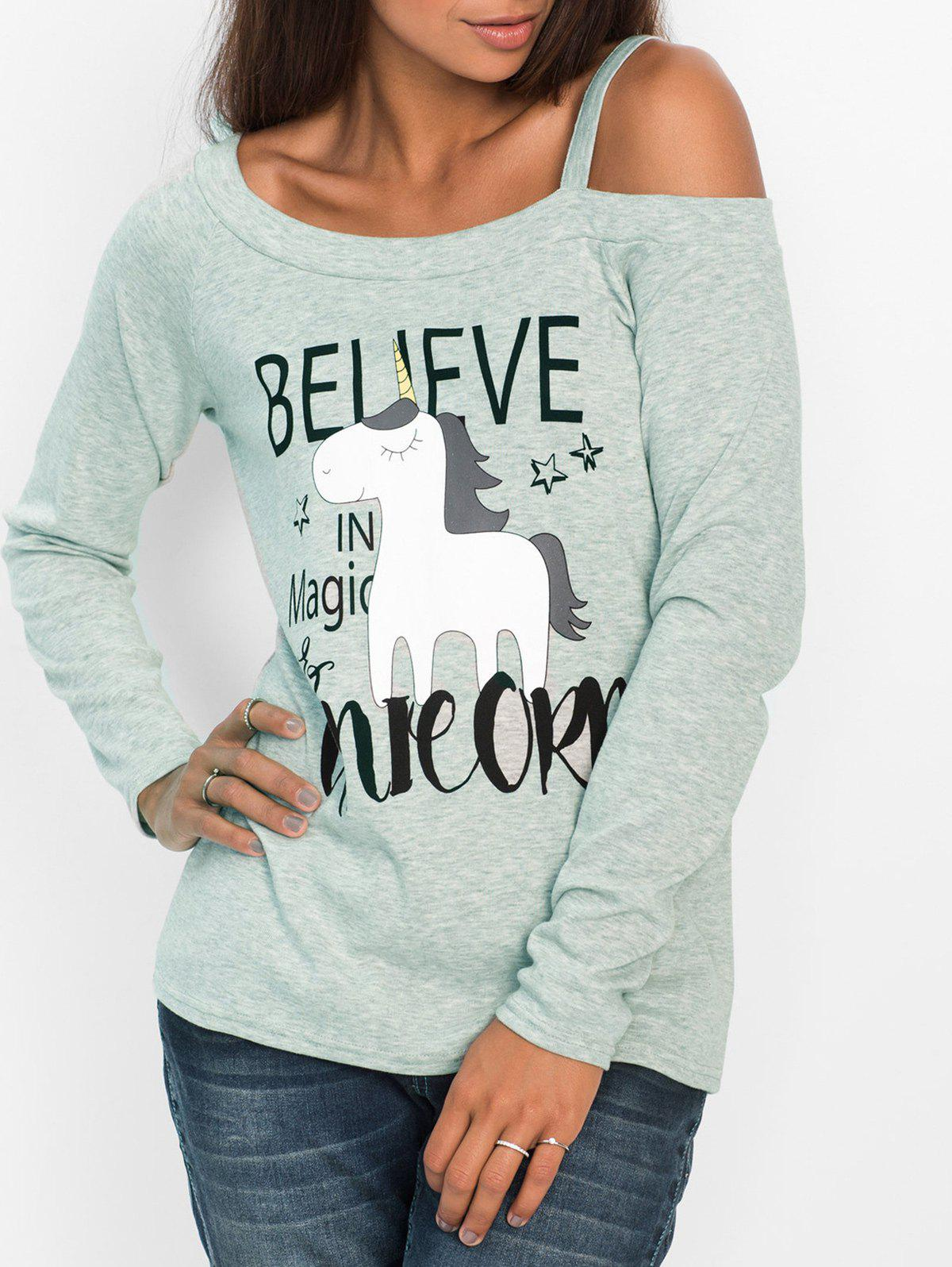One Shoulder Animal Pattern T-shirtWOMEN<br><br>Size: M; Color: LIGHT GRAY; Material: Cotton,Polyester; Shirt Length: Regular; Sleeve Length: Full; Collar: One-Shoulder; Style: Fashion; Pattern Type: Animal; Season: Fall,Winter; Weight: 0.2600kg; Package Contents: 1 x T-shirt;