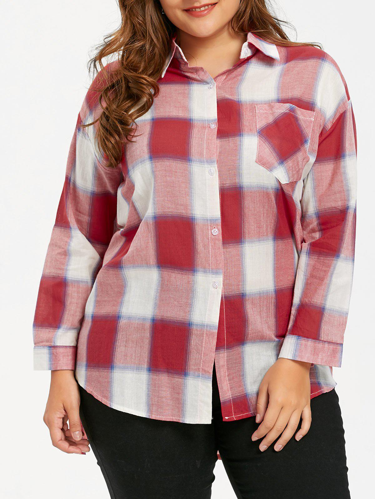 Unique Plus Size Plaid High Low Hem Shirt