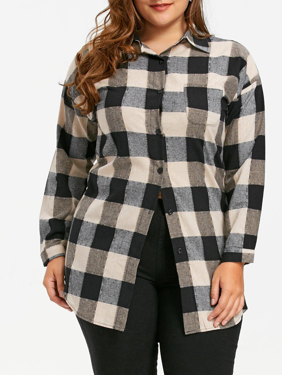 Cheap Plus Size Plaid Patch Pocket Tunic Shirt