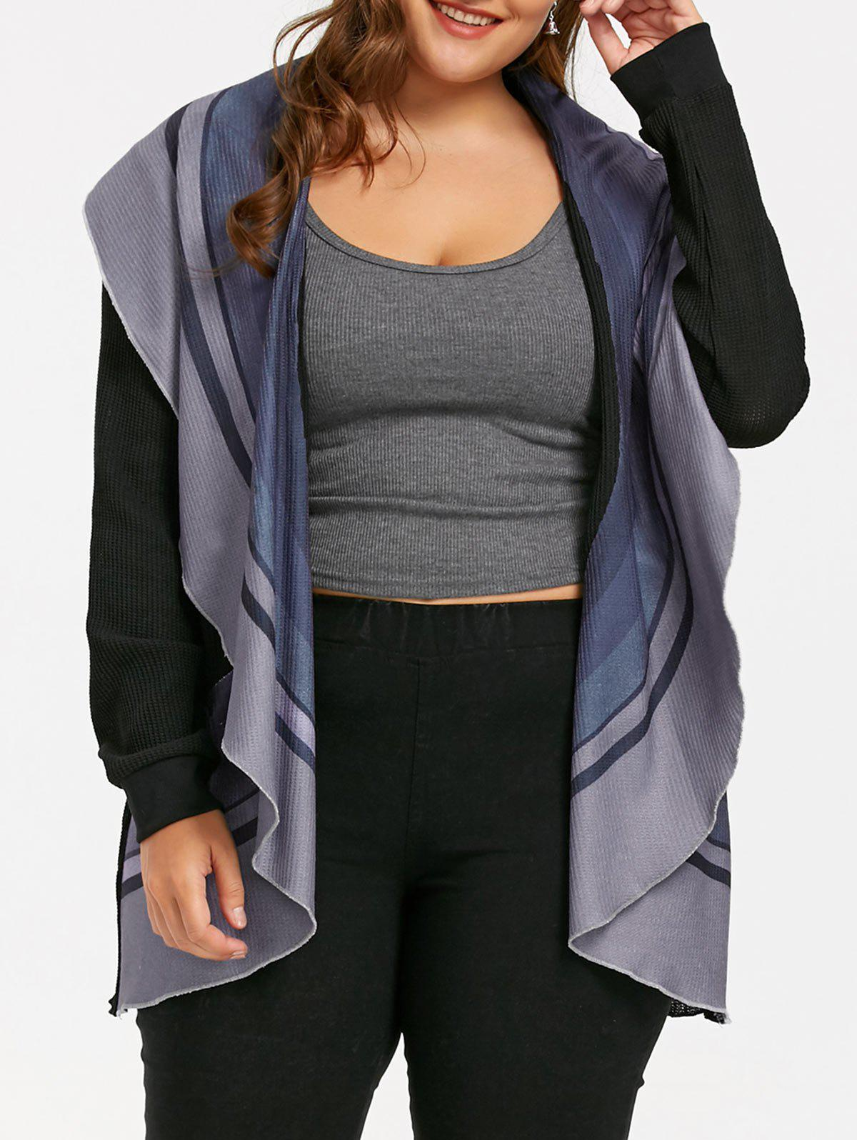 New Plus Size Striped Open Front Waterfall Cardigan