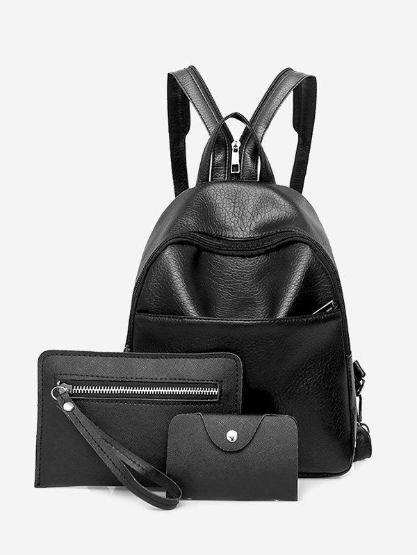 Faux Leather 3 Pieces Backpack SetSHOES &amp; BAGS<br><br>Color: BLACK; Handbag Type: Backpack; Style: Fashion; Gender: For Women; Pattern Type: Solid; Handbag Size: Small(20-30cm); Closure Type: Zipper; Occasion: Versatile; Main Material: PU; Weight: 0.6000kg; Size(CM)(L*W*H): 23*10*26; Package Contents: 1 x Backpack, 1 x Wristlet, 1 x Card Case;