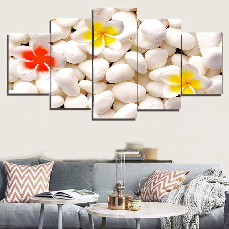 Cobblestones Flowers Pattern Unframed Split Canvas PaintingsHOME<br><br>Size: 1PC:8*20,2PCS:8*12,2PCS:8*16 INCH( NO FRAME ); Color: WHITE; Subjects: Flower; Product Type: Art Print; Features: Decorative; Style: Fashion; Hang In/Stick On: Bathroom,Bedrooms,Cafes,Closestool,Hotels,Kids Room,Kitchen,Living Rooms,Lobby,Nurseries,Offices,Stair; Form: Five Panels; Frame: No; Material: Canvas; Package Contents: 1 x Paintings (Set);