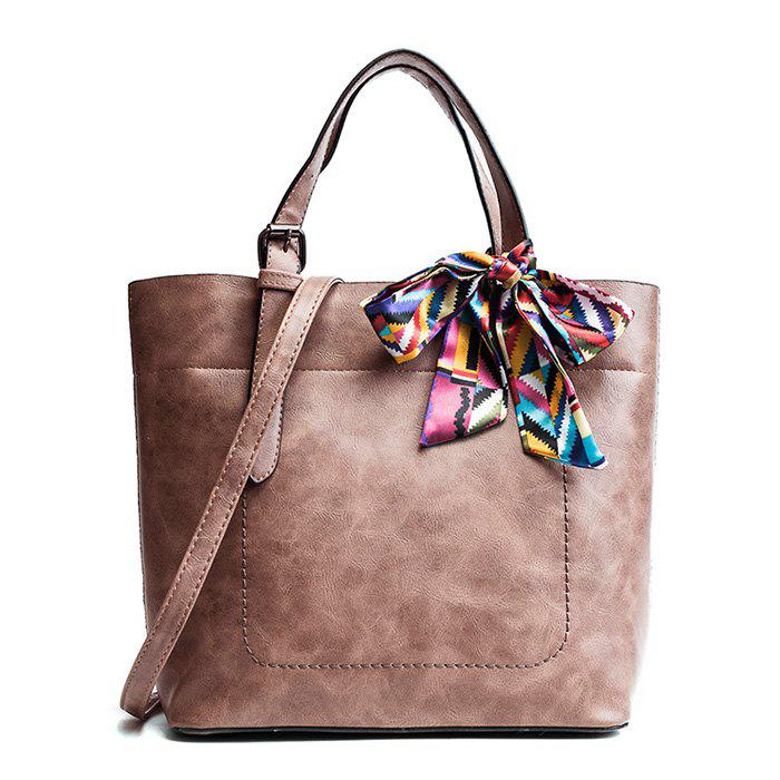 Shop Scarf  PU Leather Bow Tote Bag