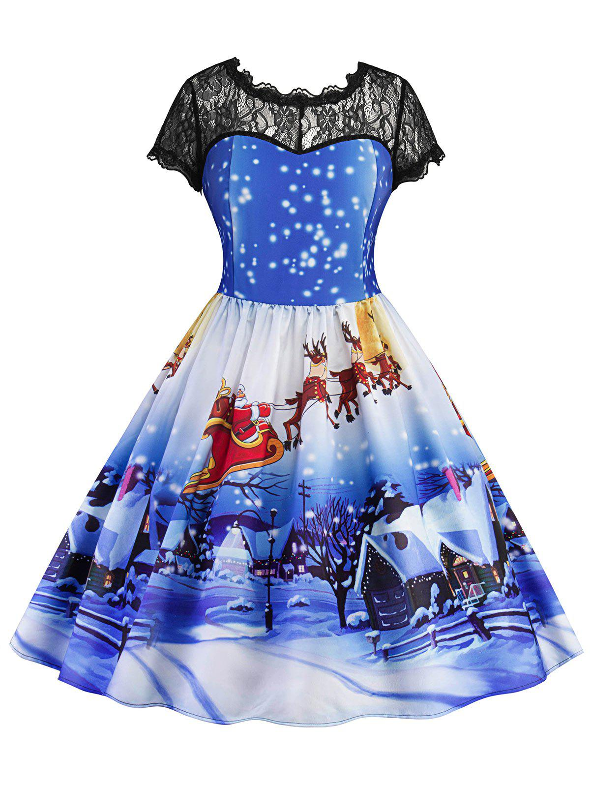 Trendy Lace Panel Christmas Print Vintage Dress