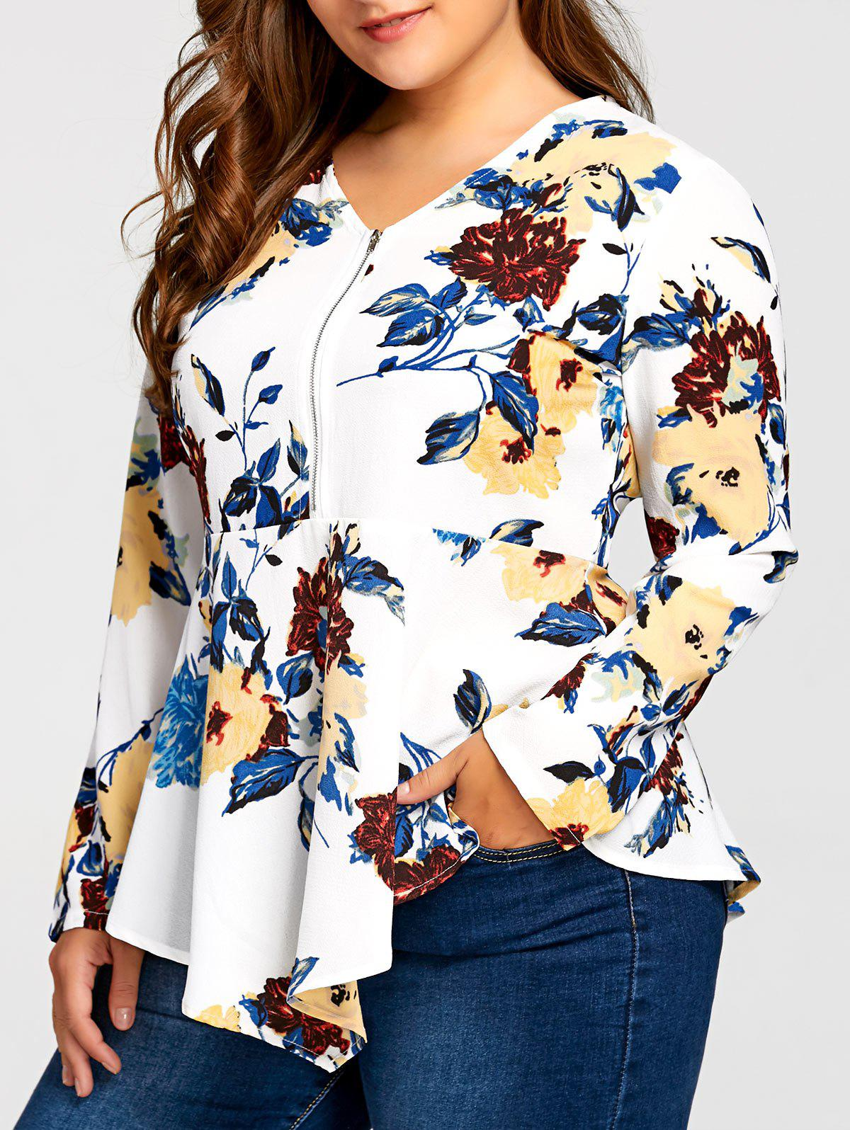 Plus Size Asymmetric Half Zipper Floral Long Sleeve BlouseWOMEN<br><br>Size: 2XL; Color: WHITE; Material: Polyester; Shirt Length: Long; Sleeve Length: Full; Collar: V-Neck; Style: Casual; Season: Fall,Spring; Embellishment: Zippers; Pattern Type: Floral; Weight: 0.2300kg; Package Contents: 1 x Blouse;