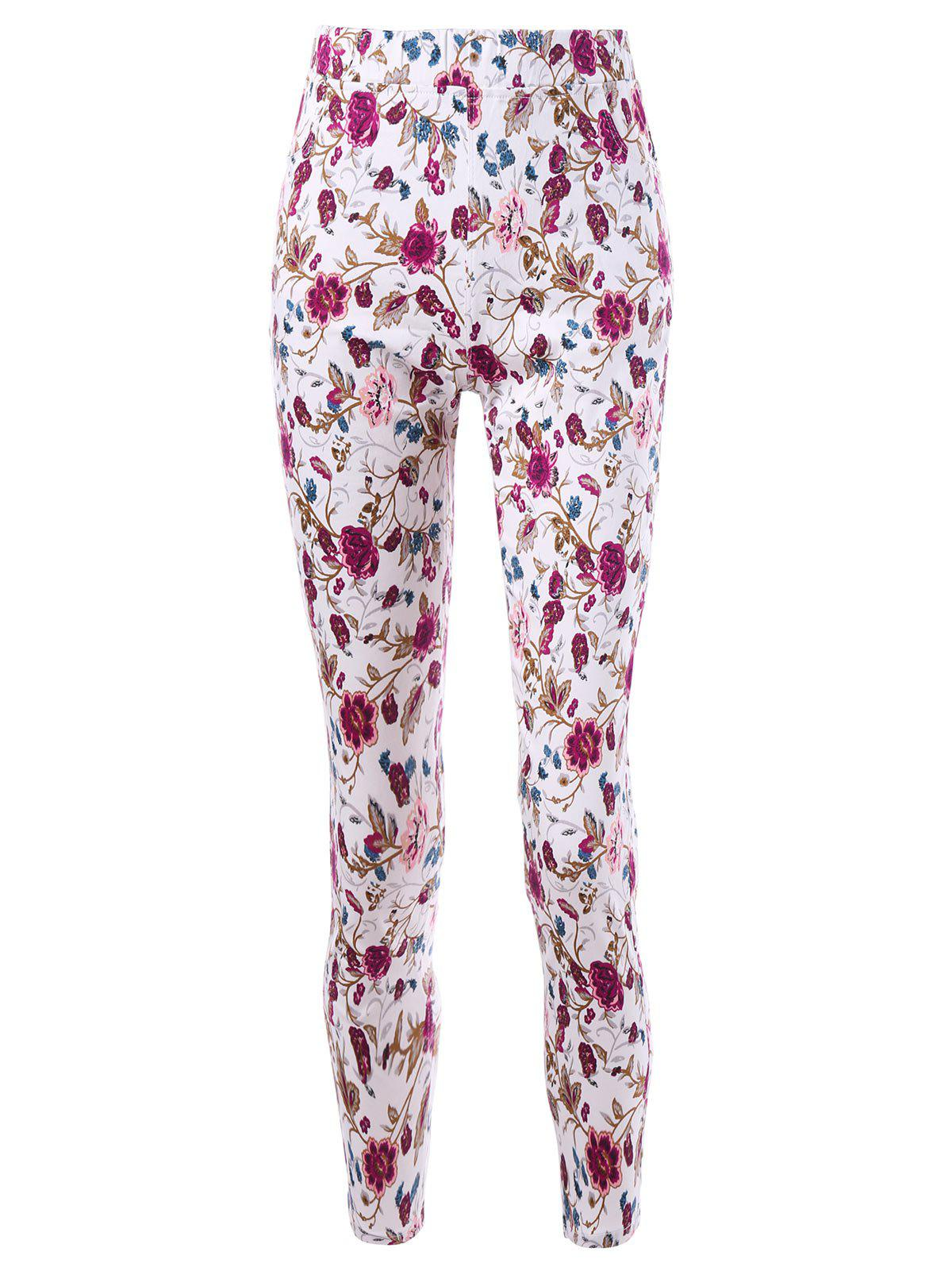 Fashion Patch Pockets Allover Floral Tight Pants