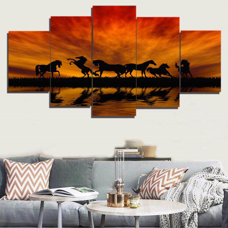 Unframed Sunset Horses Pattern Canvas PaintingsHOME<br><br>Size: 1PC:8*20,2PCS:8*12,2PCS:8*16 INCH( NO FRAME ); Color: DARK AUBURN; Subjects: Animal; Features: Decorative; Style: Fashion; Hang In/Stick On: Bedrooms,Cafes,Hotels,Living Rooms,Offices; Shape: Horizontal; Form: Five Panels; Frame: No; Material: Canvas; Package Contents: 1 x Canvas Paintings (Set);
