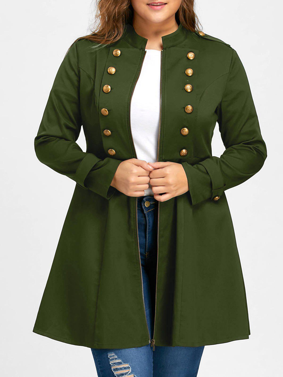 Plus Size Double Breasted Epaulet Flare CoatWOMEN<br><br>Size: 3XL; Color: ARMY GREEN; Clothes Type: Trench; Material: Polyester; Type: Slim; Shirt Length: Long; Sleeve Length: Full; Collar: Stand-Up Collar; Pattern Type: Solid; Embellishment: Button; Style: Vintage; Season: Fall,Spring; Weight: 0.4800kg; Package Contents: 1 x Coat;
