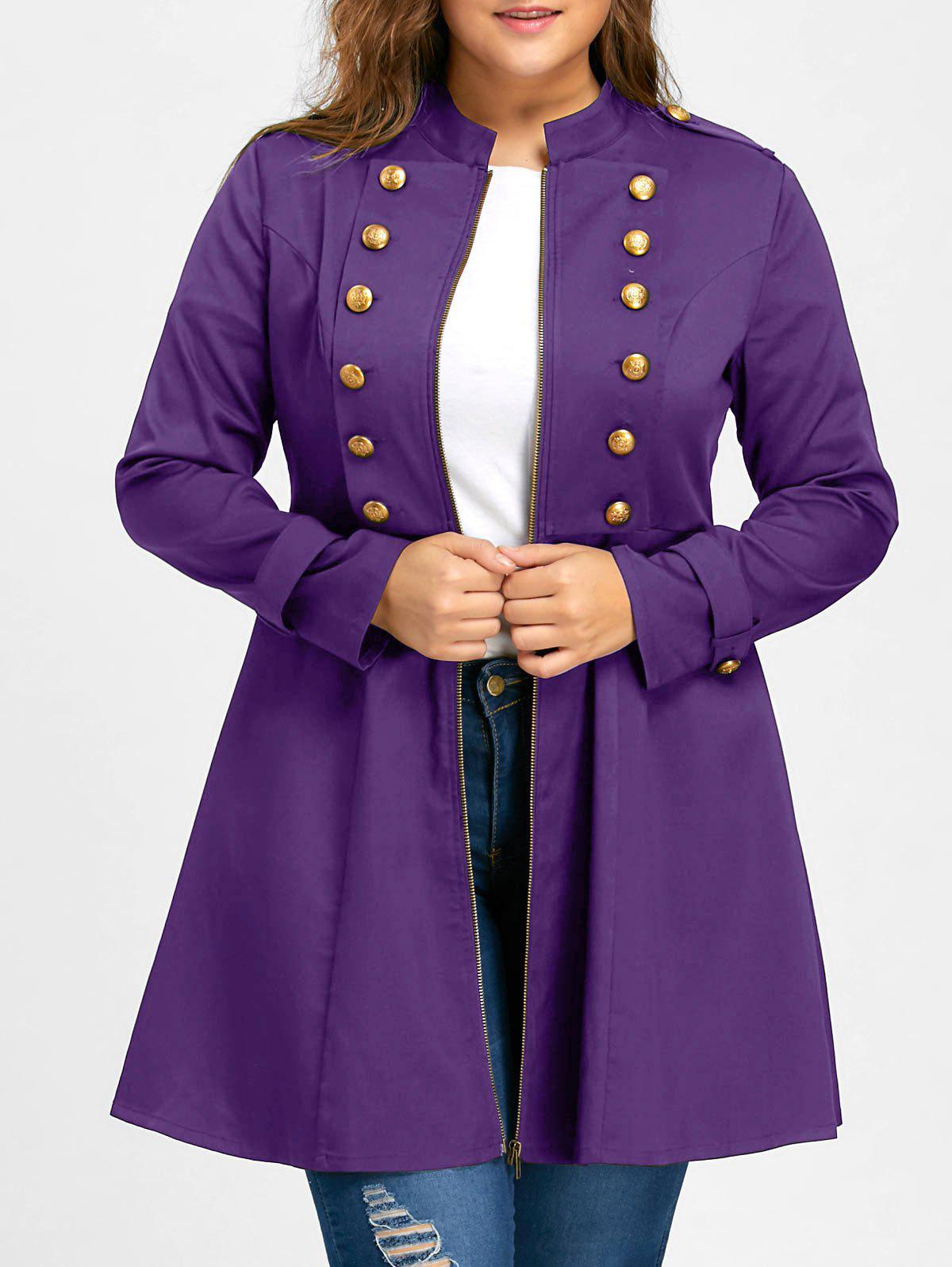 Plus Size Double Breasted Epaulet Flare CoatWOMEN<br><br>Size: 5XL; Color: PURPLE; Clothes Type: Trench; Material: Polyester; Type: Slim; Shirt Length: Long; Sleeve Length: Full; Collar: Stand-Up Collar; Pattern Type: Solid; Embellishment: Button; Style: Vintage; Season: Fall,Spring; Weight: 0.4800kg; Package Contents: 1 x Coat;