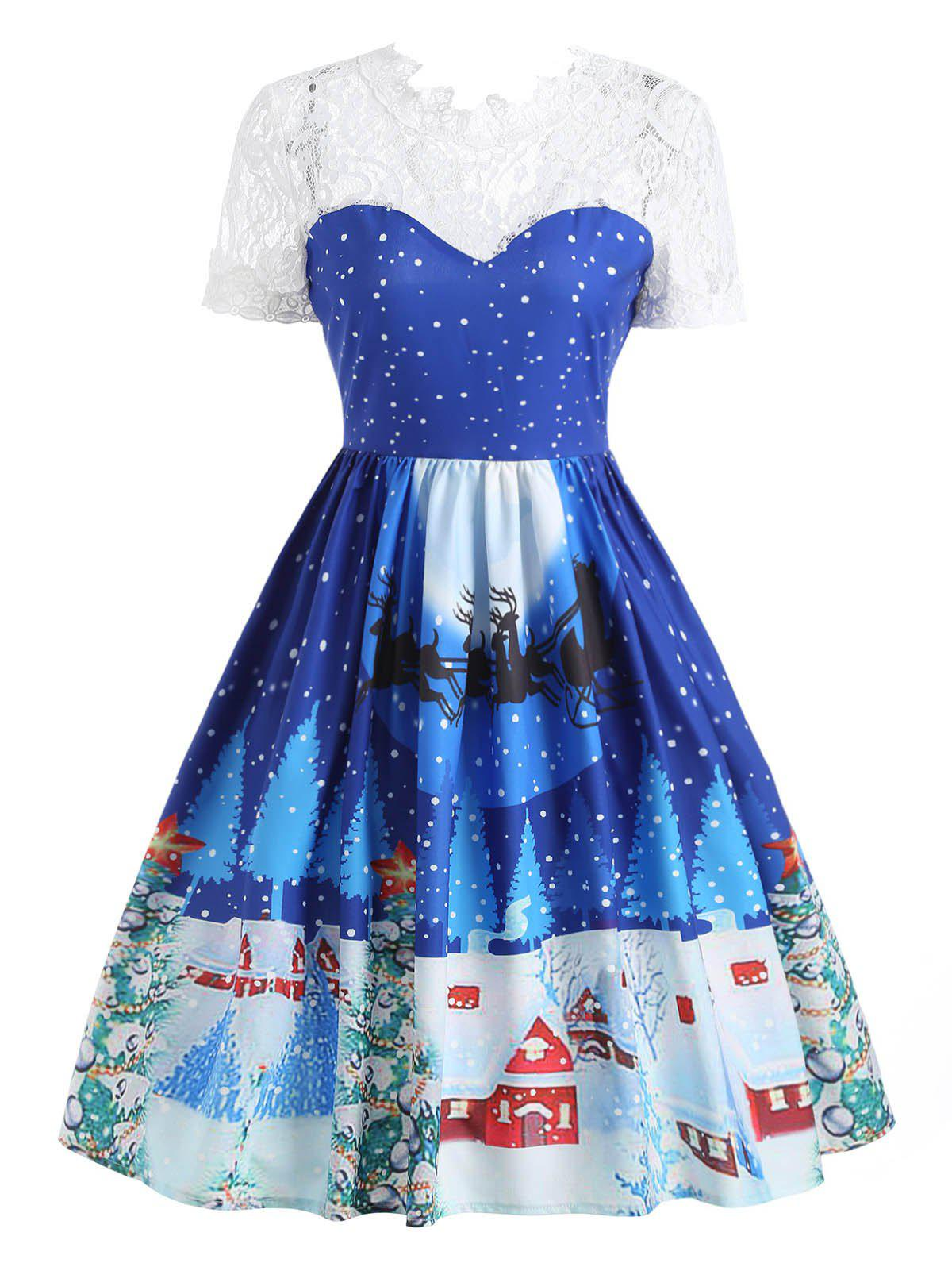 Christmas Print Lace Panel 50s Swing DressWOMEN<br><br>Size: M; Color: BLUE; Style: Cute; Material: Polyester; Silhouette: A-Line; Dress Type: Swing Dress; Dresses Length: Knee-Length; Neckline: Ruffled; Sleeve Length: Short Sleeves; Embellishment: Lace,Panel; Pattern Type: Print; With Belt: No; Season: Fall,Spring,Summer,Winter; Weight: 0.3200kg; Package Contents: 1 x Dress;