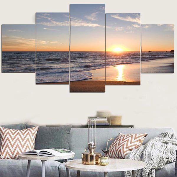 Unframed Sunset Beach Pattern Canvas PaintingsHOME<br><br>Size: 1PC:8*20,2PCS:8*12,2PCS:8*16 INCH( NO FRAME ); Color: COLORFUL; Subjects: Landscape; Features: Decorative; Hang In/Stick On: Bedrooms,Cafes,Hotels,Living Rooms,Offices; Form: Five Panels; Frame: No; Material: Canvas; Package Contents: 1 x Canvas Paintings (Set);