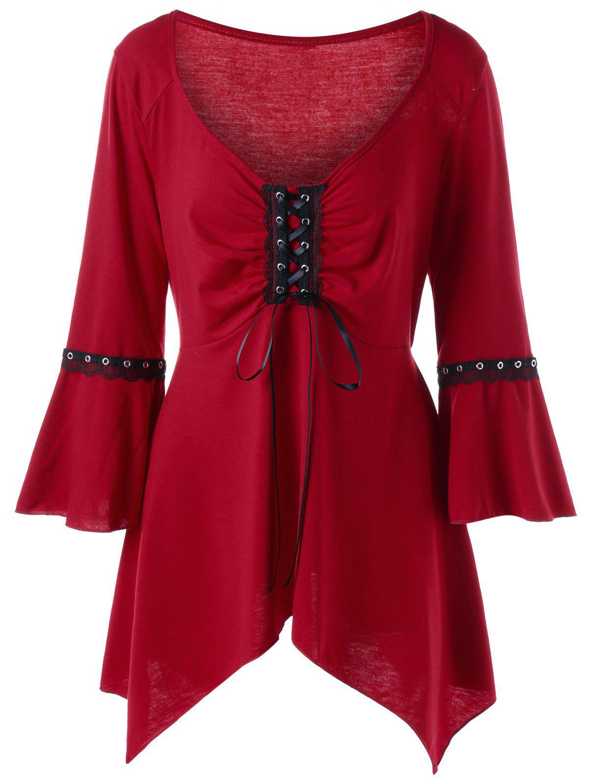 Plus Size Flare Sleeve Lace Up TeeWOMEN<br><br>Size: 4XL; Color: WINE RED; Material: Polyester,Spandex; Shirt Length: Regular; Sleeve Length: Three Quarter; Collar: V-Neck; Style: Gothic; Season: Fall,Spring,Summer; Embellishment: Lace; Pattern Type: Solid; Weight: 0.3000kg; Package Contents: 1 x T-shirt;