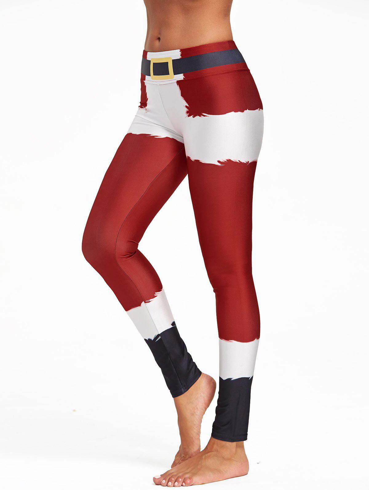 Christmas Belt Printed Color Block LeggingsWOMEN<br><br>Size: M; Color: RED; Style: Fashion; Material: Polyester,Spandex; Waist Type: Mid; Pattern Type: Others,Print; Weight: 0.2700kg; Package Contents: 1 x Leggings;