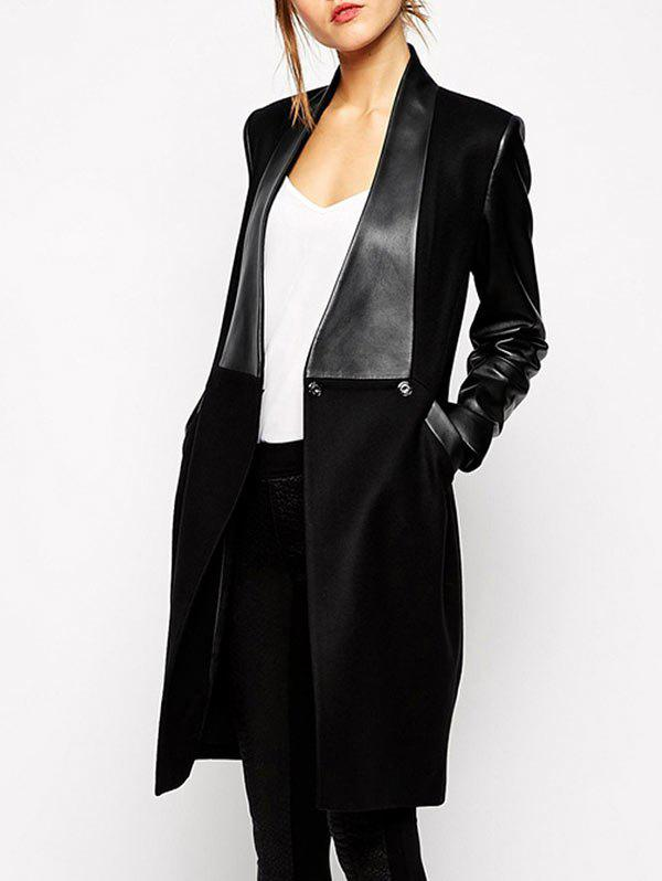 Fashion Faux Leather Spliced Pocket Design Overcoat