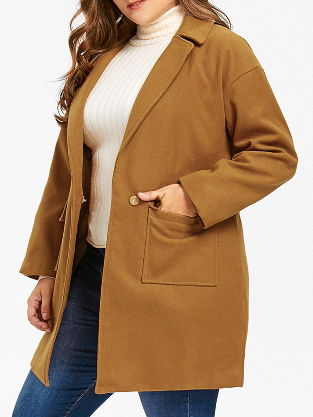 Discount Wool Blend One Button Plus Size Coat