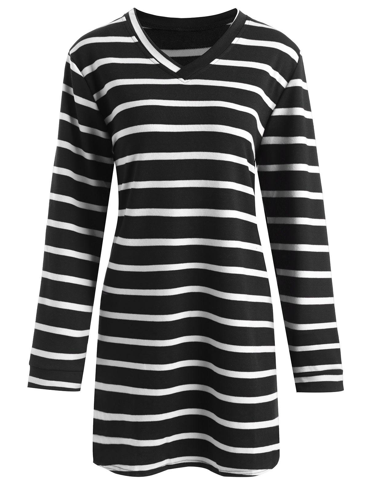 Unique Plus Size V Neck Striped Longline T-shirt