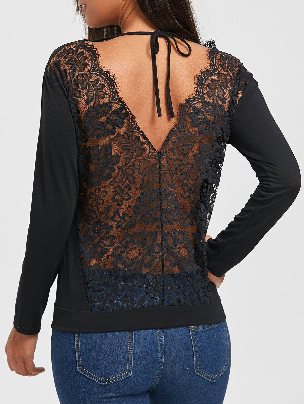 Fashion Lace Hollow Out Back V Blouse