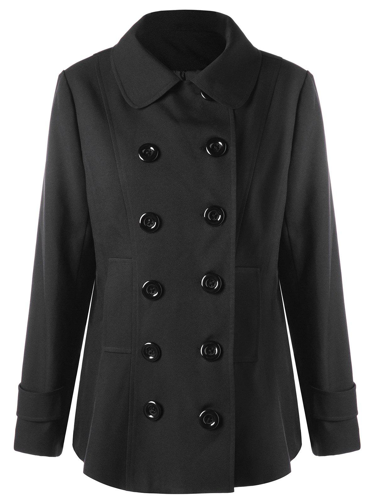 Affordable Plus Size Double Breasted Welt Pocket Coat