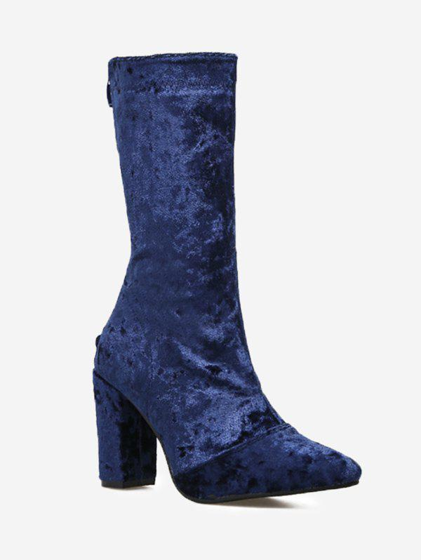 Unique Pointed Toe High Heel Mid Calf Boots