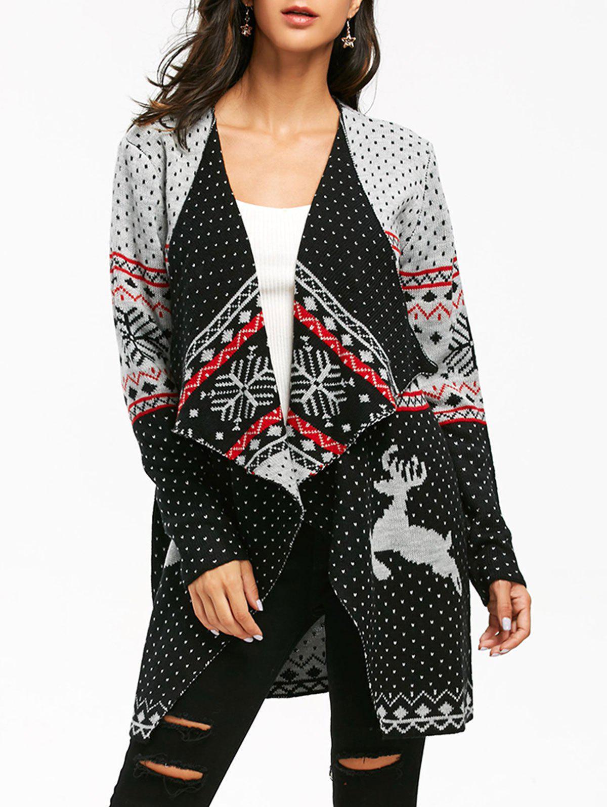 Christmas Reindeer Polka Dot Tunic Draped CardiganWOMEN<br><br>Size: L; Color: COLORMIX; Type: Cardigans; Material: Acrylic; Sleeve Length: Full; Collar: Collarless; Style: Casual; Pattern Type: Character,Polka Dot; Season: Fall,Spring,Winter; Elasticity: Micro-elastic; Weight: 0.6200kg; Package Contents: 1 x Cardigan;