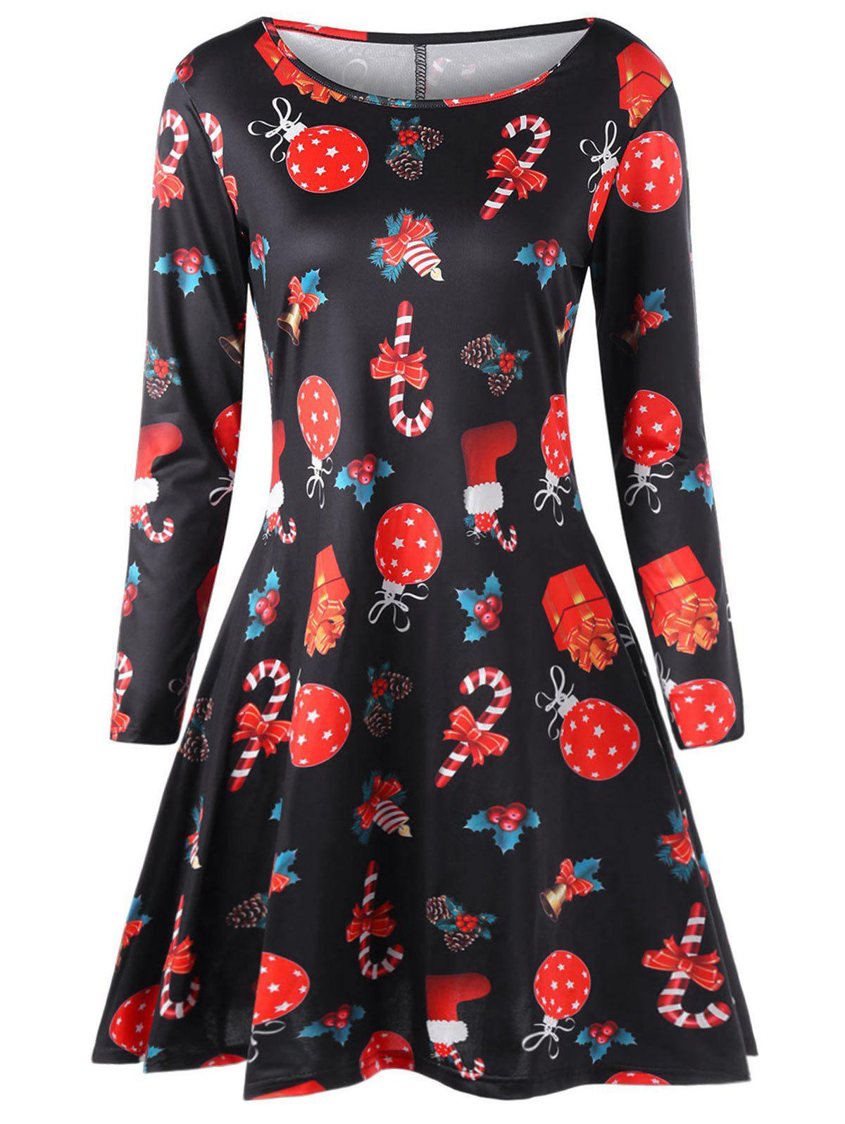Buy Plus Size Christmas Printed A Line Dress