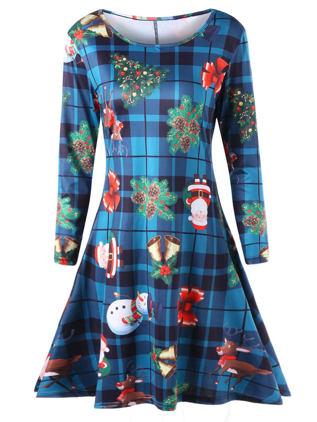 Plus Size Long Sleeve Plaid Christmas DressWOMEN<br><br>Size: 2XL; Color: COLORMIX; Style: Casual; Material: Polyester,Spandex; Silhouette: A-Line; Dresses Length: Mid-Calf; Neckline: Scoop Neck; Sleeve Length: Long Sleeves; Pattern Type: Christmas Tree; With Belt: No; Season: Fall,Spring,Winter; Weight: 0.4500kg; Package Contents: 1 x Dress;