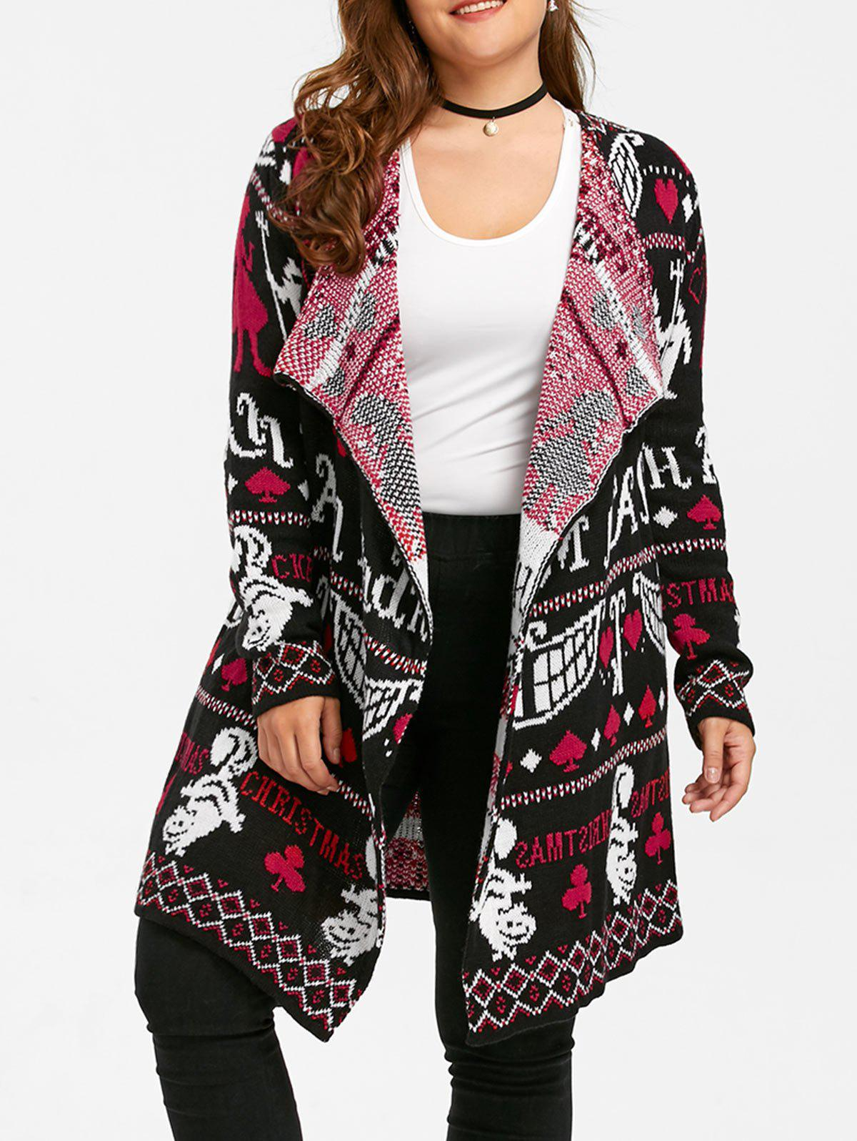 Ugly Christmas Plus Size Sweater Drape CardiganWOMEN<br><br>Size: 5XL; Color: BLACK&amp;RED; Type: Cardigans; Material: Polyester,Spandex; Sleeve Length: Full; Collar: Collarless; Style: Fashion; Season: Fall,Winter; Pattern Type: Others; Weight: 0.4700kg; Package Contents: 1 x Cardigan;