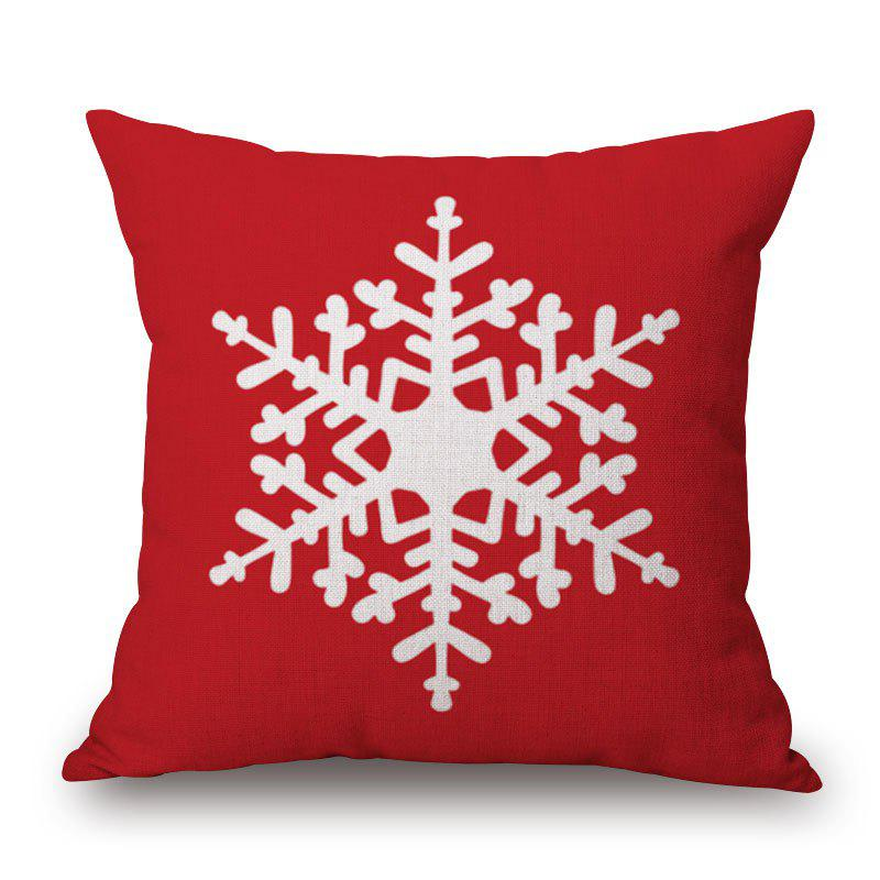 Christmas Snowflake Print Decorative Linen Sofa PillowcaseHOME<br><br>Size: 45*45CM; Color: RED; Material: Cotton Linen; Pattern: Snowflake; Style: Festival; Shape: Square; Weight: 0.2000kg; Package Contents: 1 x Pillowcase;