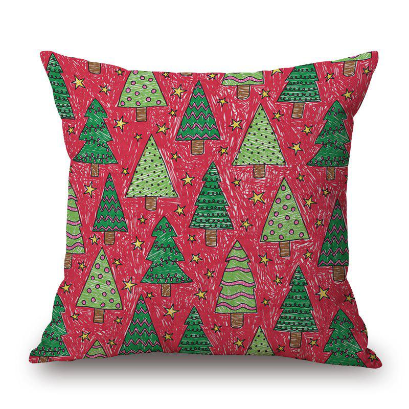 Chic Christmas Trees Print Decorative Linen Sofa Pillowcase