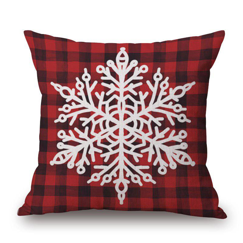 Shop Christmas Snowflake Plaid Print Linen Sofa Pillowcase