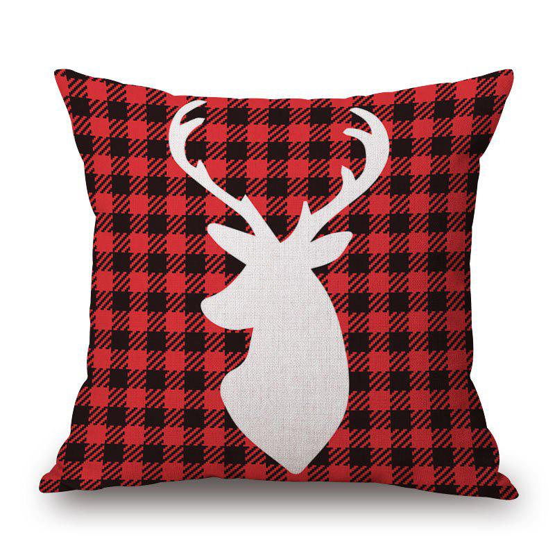 Christmas Deer Plaid Print Decorative Linen Sofa PillowcaseHOME<br><br>Size: 45*45CM; Color: DEEP RED; Material: Cotton Linen; Pattern: Animal,Plaid; Style: Festival; Shape: Square; Weight: 0.2000kg; Package Contents: 1 x Pillowcase;