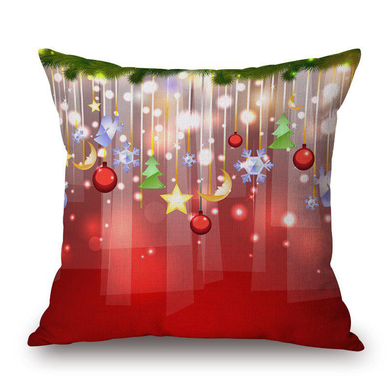 Chic Christmas Balls Print Decorative Linen Sofa Pillowcase