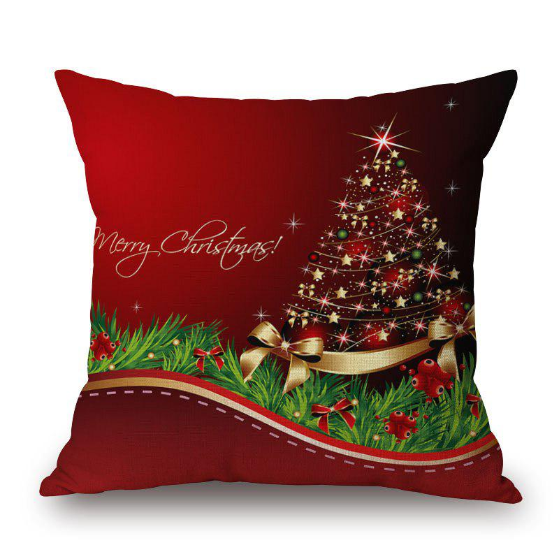 Christmas Star Tree Print Decorative Linen Sofa PillowcaseHOME<br><br>Size: 45*45CM; Color: RED; Material: Cotton Linen; Pattern: Plant,Star; Style: Festival; Shape: Square; Weight: 0.2000kg; Package Contents: 1 x Pillowcase;
