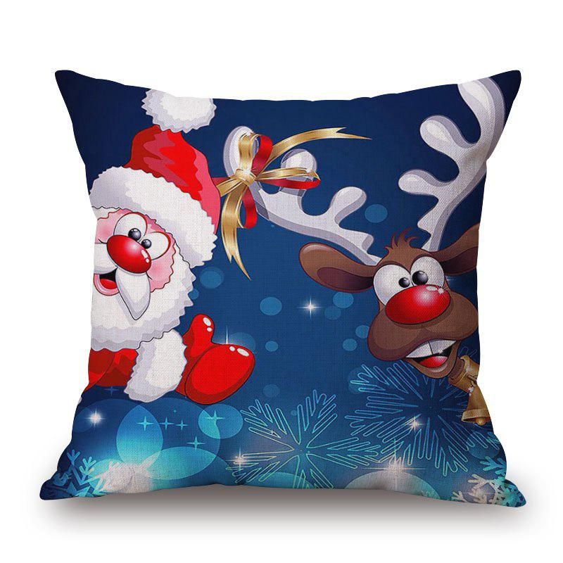 Christmas Santa Deer Print Decorative Linen Sofa PillowcaseHOME<br><br>Size: 45*45CM; Color: COLORMIX; Material: Cotton Linen; Pattern: Animal,Santa Claus; Style: Festival; Shape: Square; Weight: 0.2000kg; Package Contents: 1 x Pillowcase;