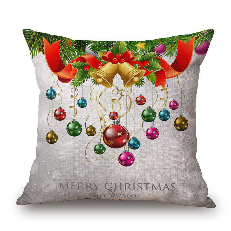 Christmas Baubles Print Decorative Linen Sofa PillowcaseHOME<br><br>Size: 45*45CM; Color: COLORMIX; Material: Cotton Linen; Pattern: Letter; Style: Festival; Shape: Square; Weight: 0.2000kg; Package Contents: 1 x Pillowcase;
