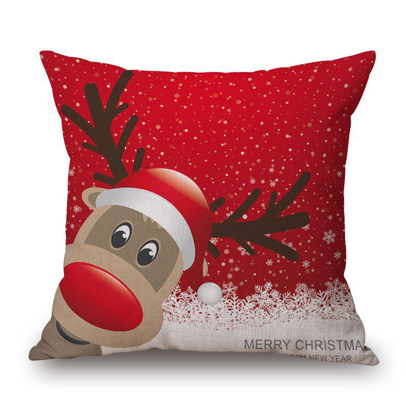 Christmas Deer Print Decorative Linen Sofa PillowcaseHOME<br><br>Size: 45*45CM; Color: RED; Material: Cotton Linen; Pattern: Animal; Style: Festival; Shape: Square; Weight: 0.2000kg; Package Contents: 1 x Pillowcase;