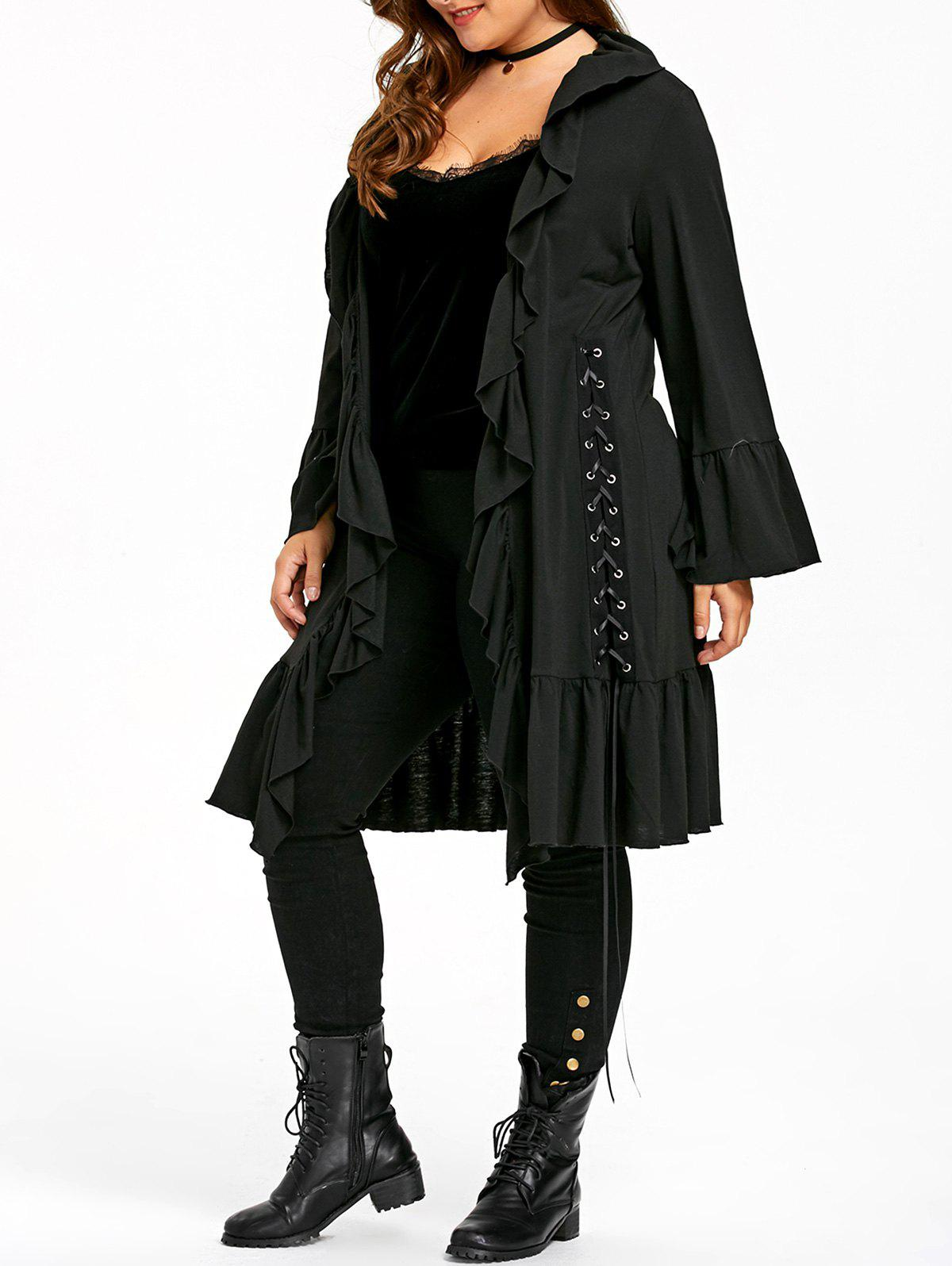 Plus Size Gothic Ruffle Lace Up CoatWOMEN<br><br>Size: 5XL; Color: BLACK; Clothes Type: Others; Material: Polyester,Spandex; Type: Slim; Shirt Length: Long; Sleeve Length: Full; Collar: Turn-down Collar; Pattern Type: Solid; Style: Gothic; Season: Fall,Spring; Weight: 0.5100kg; Package Contents: 1 x Coat;