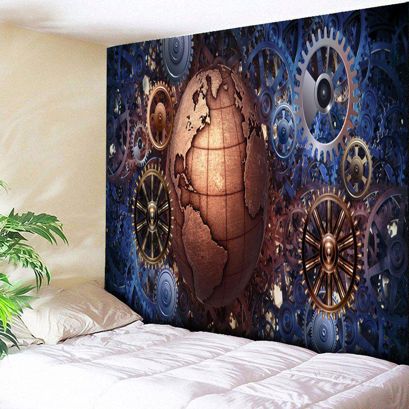 Online Vintage Gear Wheel and Globe Print Wall Tapestry