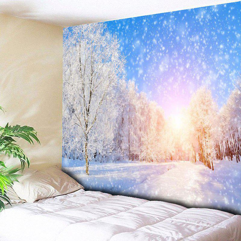 Wall Hanging Snowscape Pattern TapestryHOME<br><br>Size: W79 INCH * L59 INCH; Color: BLUE AND WHITE; Style: Natural; Theme: Landscape; Material: Cotton,Polyester; Feature: Removable,Washable; Shape/Pattern: Tree; Weight: 0.3000kg; Package Contents: 1 x Tapestry;