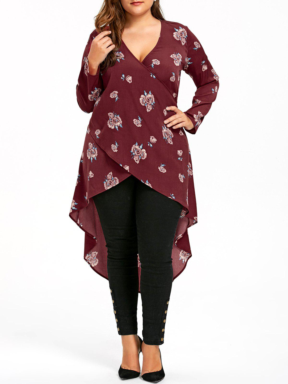 Plus Size Crossover Tiny Floral Dip Hem BlouseWOMEN<br><br>Size: 5XL; Color: BRICK-RED; Material: Rayon; Shirt Length: Long; Sleeve Length: Full; Collar: V-Neck; Style: Casual; Season: Fall,Spring; Pattern Type: Floral; Weight: 0.3000kg; Package Contents: 1 x Dress;