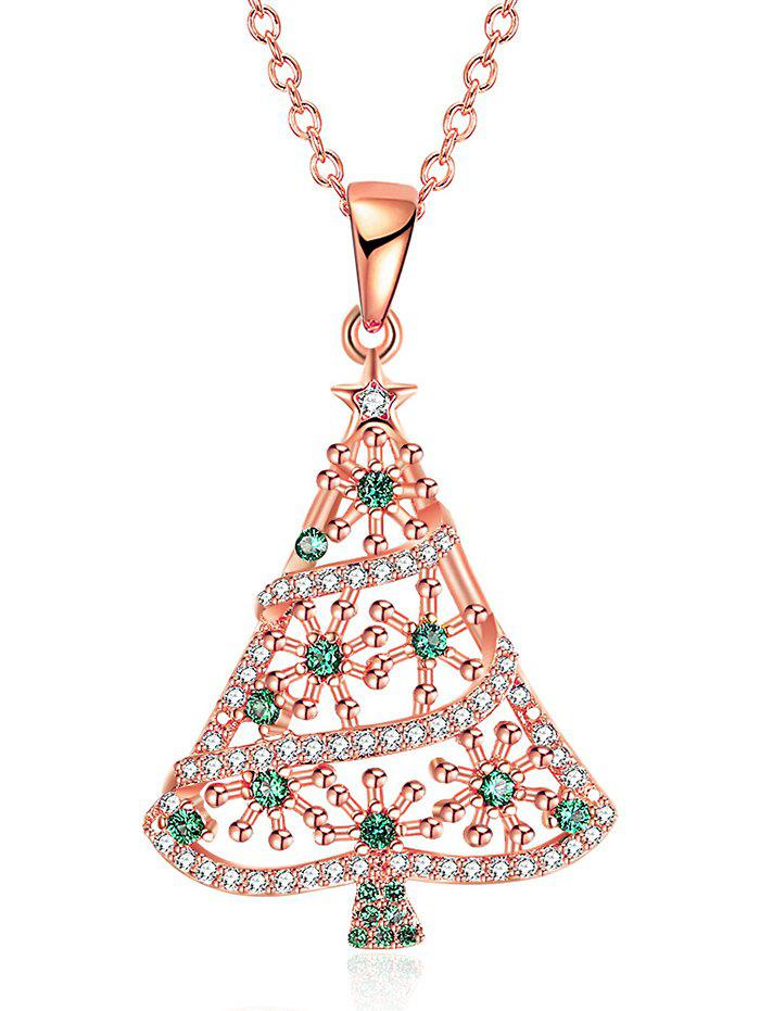 Rhinestones Insert Christmas Tree Drop NecklaceJEWELRY<br><br>Color: GOLDEN; Item Type: Pendant Necklace; Gender: For Women; Necklace Type: Link Chain; Material: Rhinestone; Metal Type: Alloy; Style: Trendy; Shape/Pattern: Plant; Weight: 0.0300kg; Package Contents: 1 x Necklace;